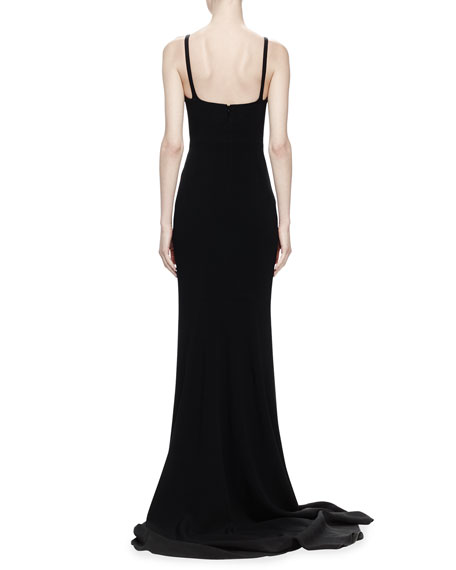 Deep Sweetheart Crepe Gown, Black