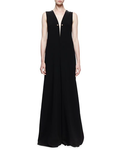 Stella McCartney Sleeveless Wide-Leg Jumpsuit. Black