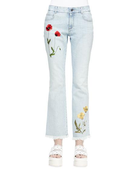 Stella McCartney Floral-Embroidered Flare Jeans, Sun Fade Blue