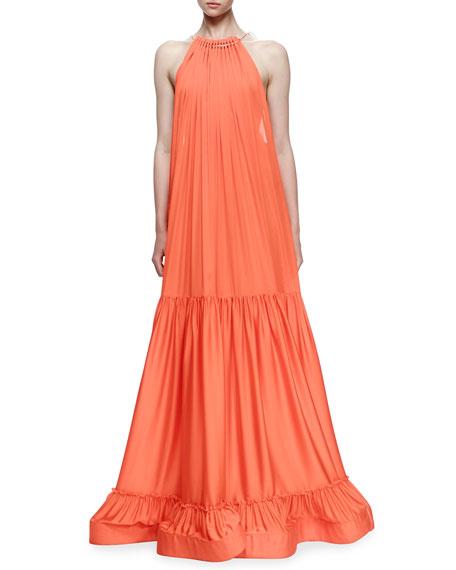 Stella McCartney Plisse Full-Skirt Halter Gown, Poppy