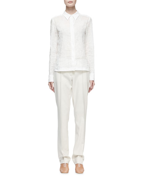 Long-Sleeve Button-Front Blouse, Pure White