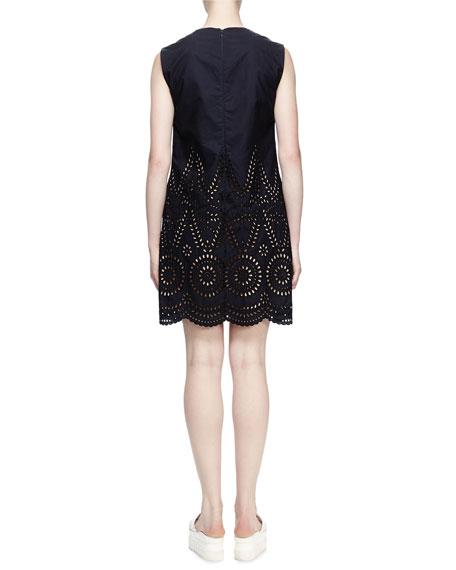 Noemie Sleeveless Eyelet Dress, Navy