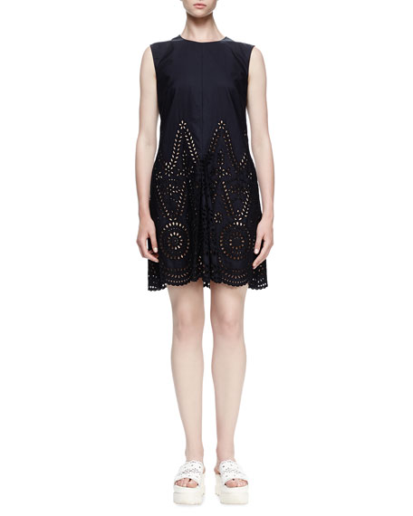 Stella McCartney Noemie Sleeveless Eyelet Dress, Navy