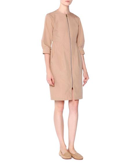 Tomas Maier Tech-Canvas Zip-Front Dress, Chino