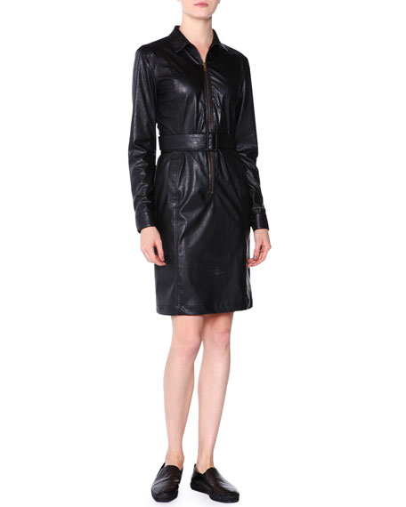 Tomas Maier Faux-Leather Zip-Front Shirtdress, Black