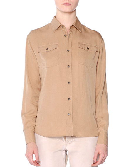 Tomas Maier Long-Sleeve Button-Front Shirt & Low-Rise Slim-Leg