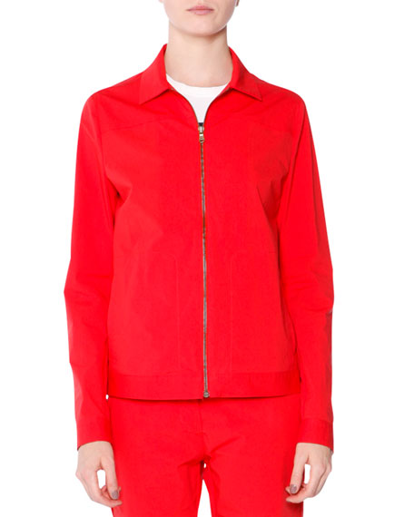 Tomas Maier Long-Sleeve Zip-Front Jacket, Fire