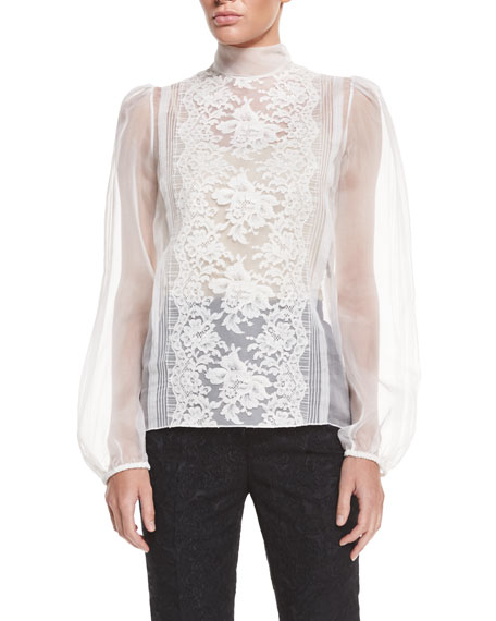 Dolce & Gabbana Long-Sleeve Sheer Blouse W/Lace Trim, Natural White