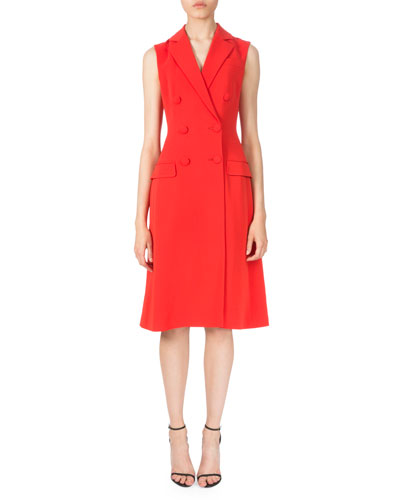 Sleeveless Double-Breasted Dress, Poppy Red