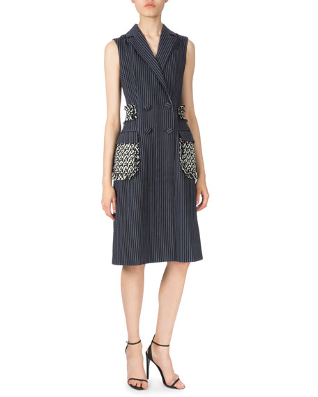 Altuzarra Pinstripe Long Vest W/Braided Detail, Navy/White