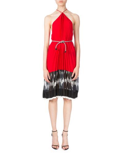 Printed Chiffon Halter Dress