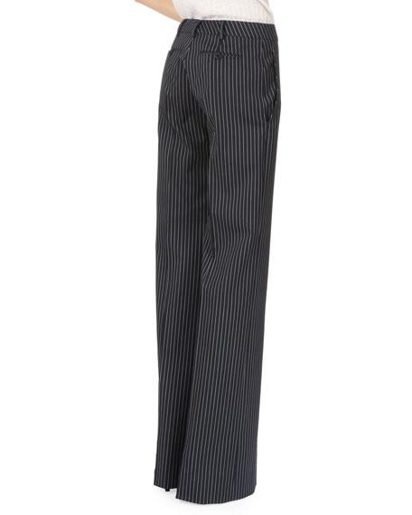 Wide-Leg Flat-Front Pinstripe Pants, Navy/White