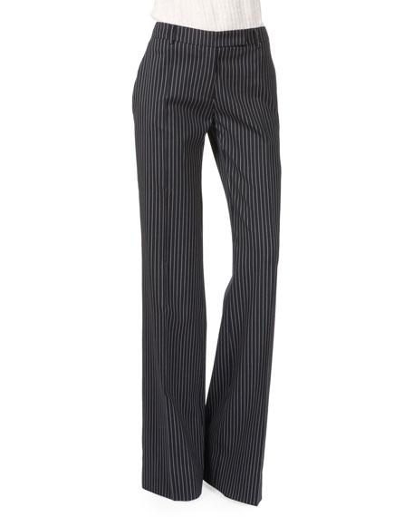 Altuzarra Wide-Leg Flat-Front Pinstripe Pants, Navy/White