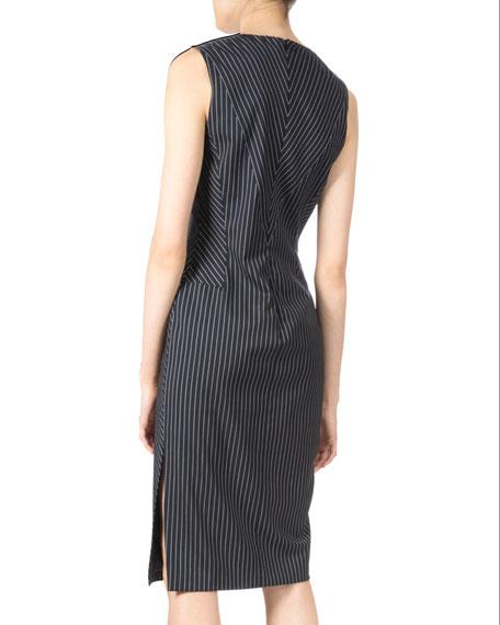 Sleeveless Pinstripe Sheath Dress, Navy/White