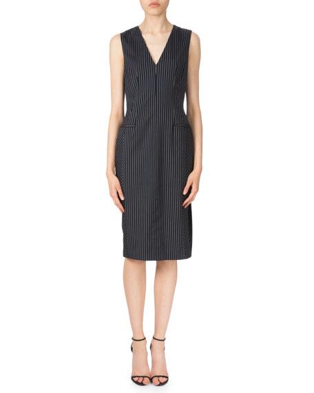 AltuzarraSleeveless Pinstripe Sheath Dress, Navy/White