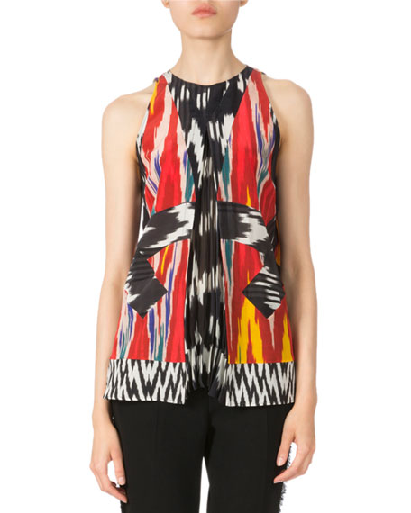 Altuzarra Sleeveless Pleated Ikat Blouse & Side-Fringe