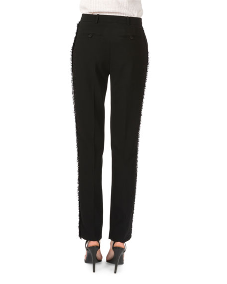 Side-Fringe Ankle-Grazer Pants, Black