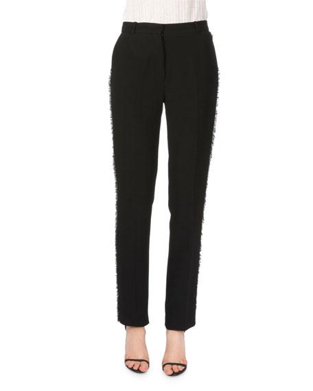 Altuzarra Side-Fringe Ankle-Grazer Pants, Black