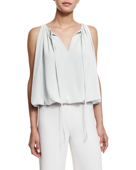 Co Sleeveless Pleated Crepe Top, Ivory
