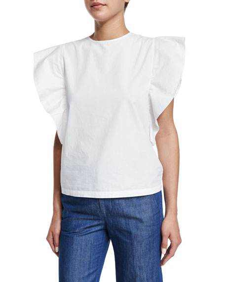 Co Butterfly-Sleeve Jewel-Neck Top, White