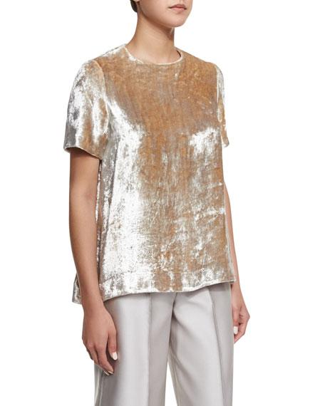 Co Crushed Velvet Short-Sleeve Top