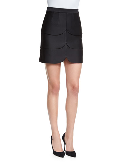 Co Scalloped Satin Mini Skirt, Black
