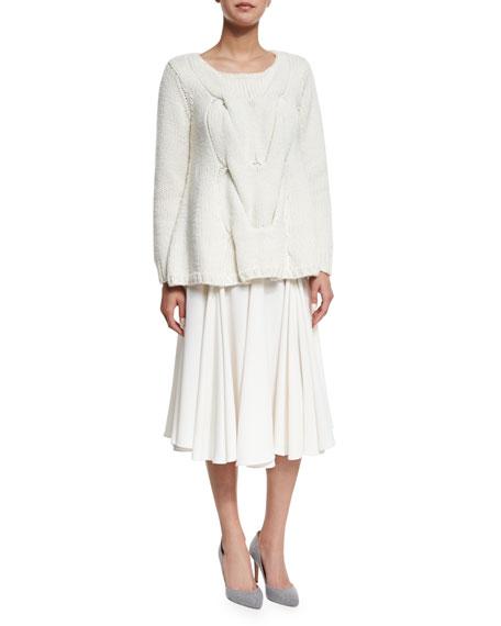 Layered Flared Crepe Midi Skirt, Ivory
