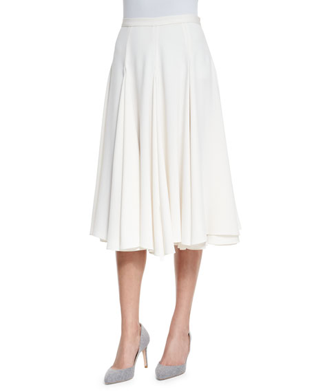 co layered flared crepe midi skirt ivory
