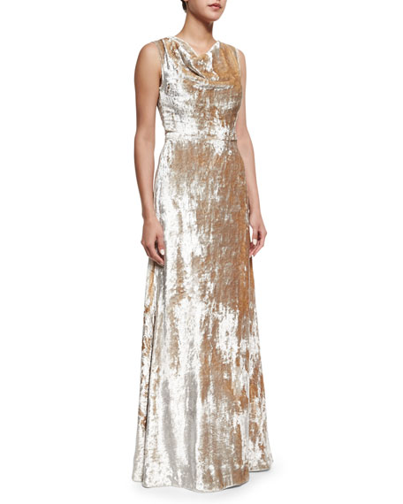 Co Crushed Velvet Cowl-Neck Gown, Silver