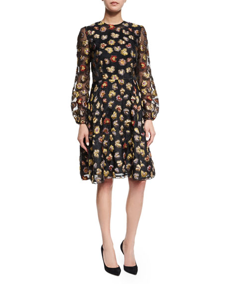 Long-Sleeve Floral Dress, Multi Colors