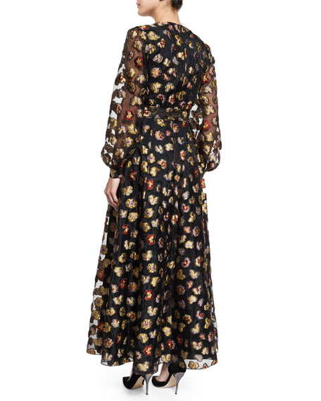 Long-Sleeve Floral Peasant Gown, Multi Colors