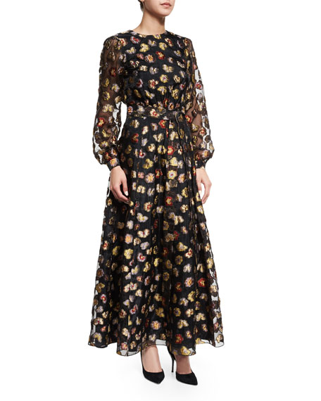 Co Long-Sleeve Floral Peasant Gown, Multi Colors