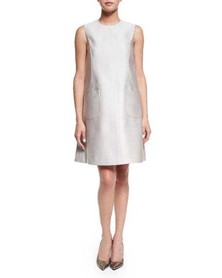 Co Sleeveless Jewel-Neck A-Line Dress, Silver