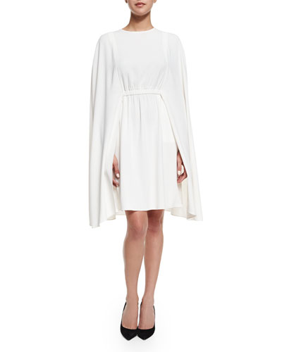 Jewel-Neck Crepe Cape Dress, Ivory