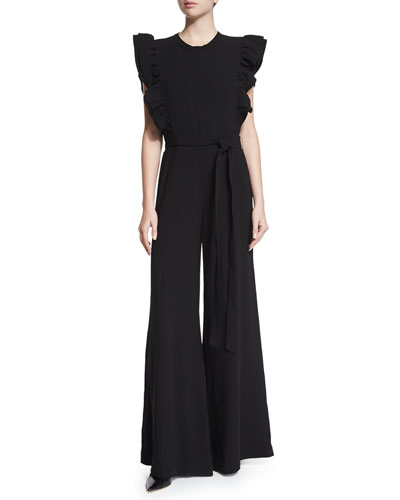 Butterfly-Sleeve Belted Jumpsuit, Black