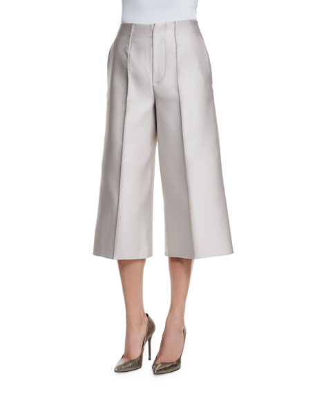 Co Wide-Leg Cropped Pants, Silver