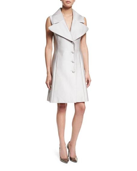 Sleeveless Oversized-Lapel Vest Dress, Silver