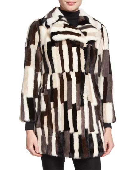 Patchwork-Mink Fur Coat, Multi Colors