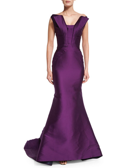 Zac Posen Split-Neck Peaked Mermaid Gown