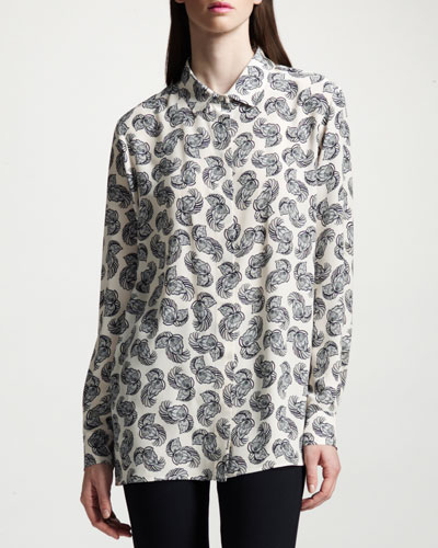 Feather-Print Silk Blouse