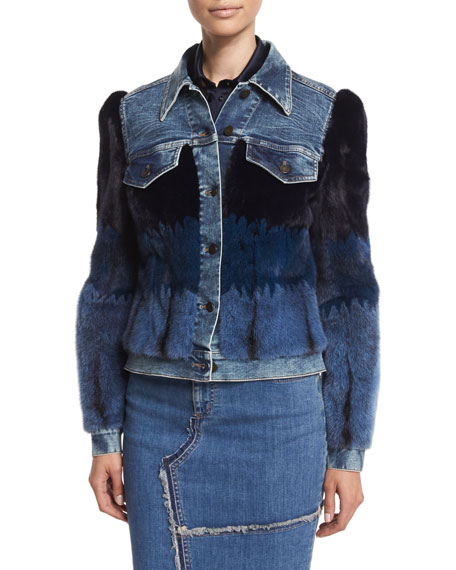 TOM FORD Denim Jacket W/Mink Fur Intarsia, Stonewash Blue