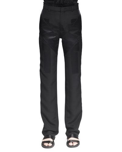 Crepe-de-Chine Inlay Pants