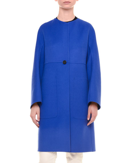 Double-Face Cashmere Coat, Cobalt