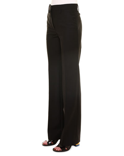Alfred Mid-Rise Straight-Leg Pants, Black