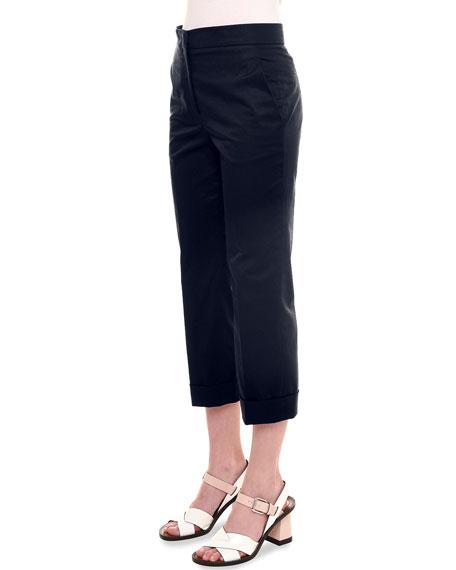 Jil Sander Slim-Leg Cropped Pants, Navy