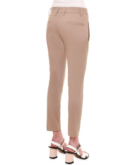 Mid-Rise Zipper-Cuff Slim Pants, Khaki