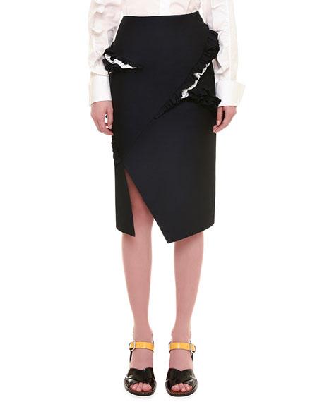 Jil Sander Radzimir Pencil Skirt W/Ruffle Detail, Black
