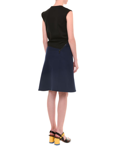 Avenue Sleeveless Jersey Dress, Black/Blue