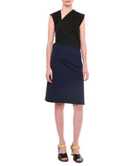 Jil Sander Avenue Sleeveless Jersey Dress, Black/Blue