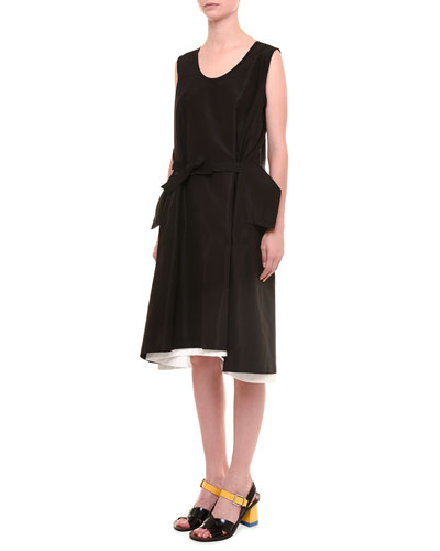 Silk Faille Dress with Self Belt